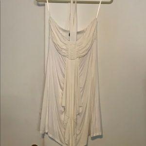 Halter tie shirt off white dress